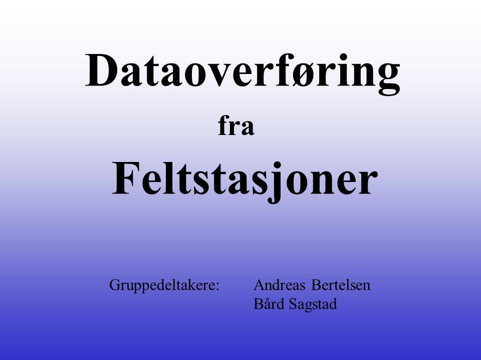Dataoverføring fra Feltstasjoner Gruppedeltakere: Andreas Bertelsen Bård Sagstad