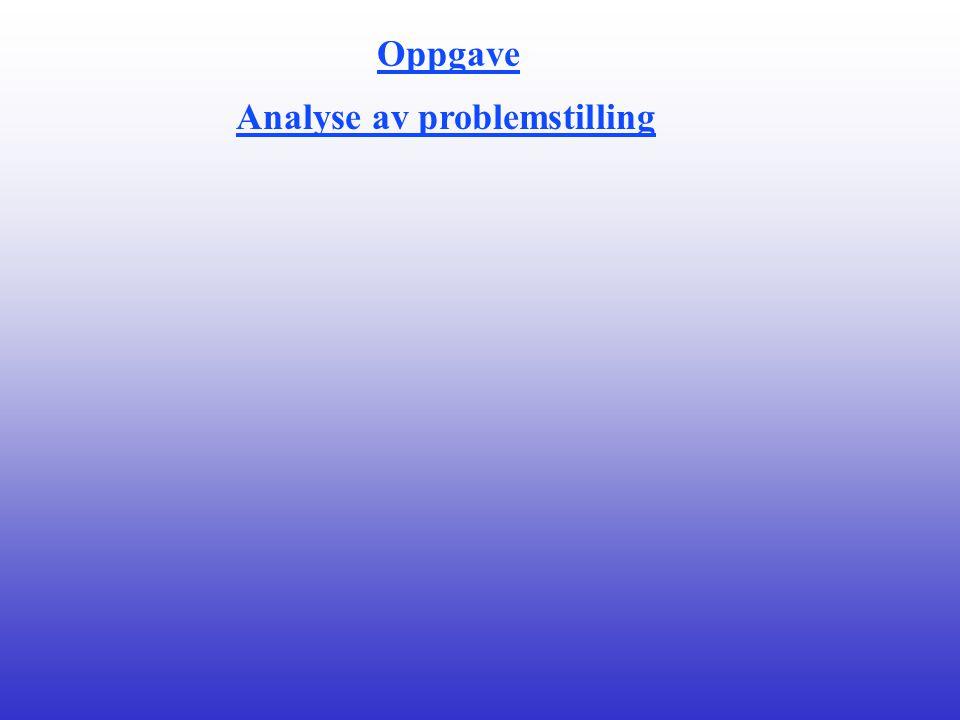 Oppgave Analyse av problemstilling