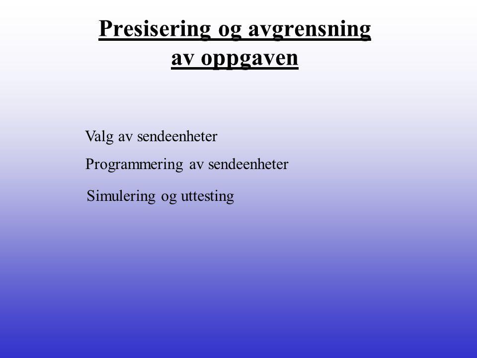 Valg av sendeenheter Programmering av sendeenheter Simulering og uttesting