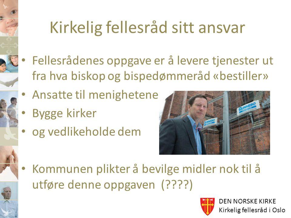 DEN NORSKE KIRKE Kirkelig fellesråd i Oslo Kirkelig fellesråd sitt ansvar Fellesrådenes oppgave er å levere tjenester ut fra hva biskop og bispedømmer