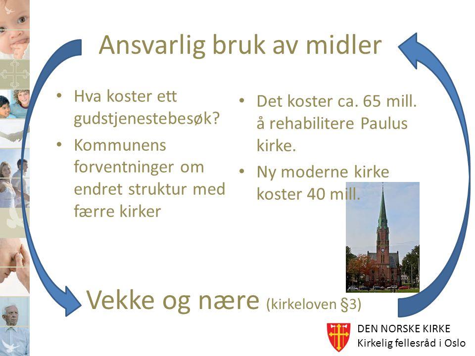 DEN NORSKE KIRKE Kirkelig fellesråd i Oslo Ansvarlig bruk av midler Hva koster ett gudstjenestebesøk? Kommunens forventninger om endret struktur med f