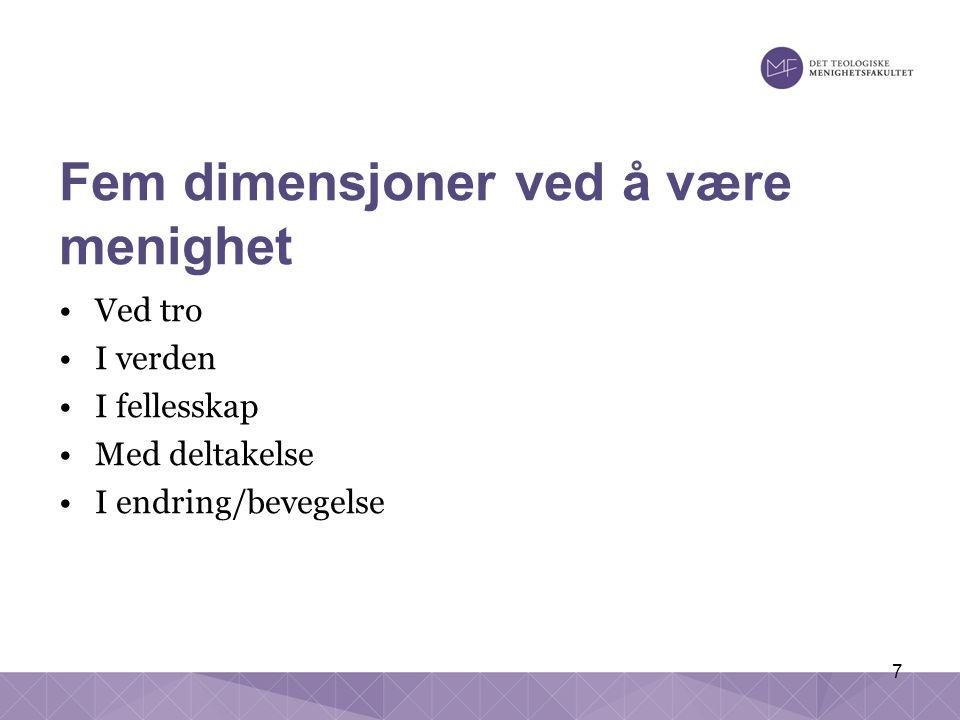 7 Fem dimensjoner ved å være menighet Ved tro I verden I fellesskap Med deltakelse I endring/bevegelse