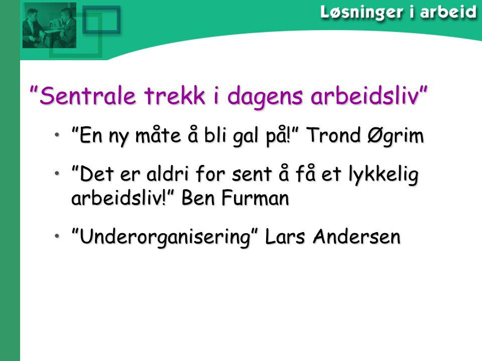 """""""Sentrale trekk i dagens arbeidsliv"""" """"Sentrale trekk i dagens arbeidsliv"""" """"En ny måte å bli gal på!"""" Trond Øgrim""""En ny måte å bli gal på!"""" Trond Øgrim"""