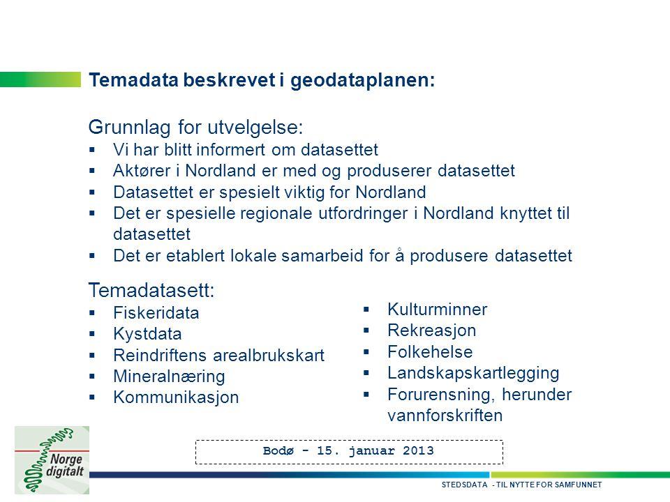 - TIL NYTTE FOR SAMFUNNETSTEDSDATA Temadata beskrevet i geodataplanen: Grunnlag for utvelgelse:  Vi har blitt informert om datasettet  Aktører i Nor