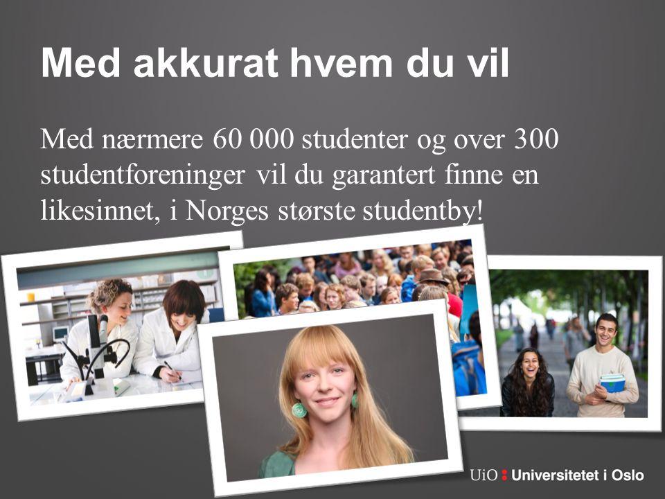 Med akkurat hvem du vil Med nærmere 60 000 studenter og over 300 studentforeninger vil du garantert finne en likesinnet, i Norges største studentby!