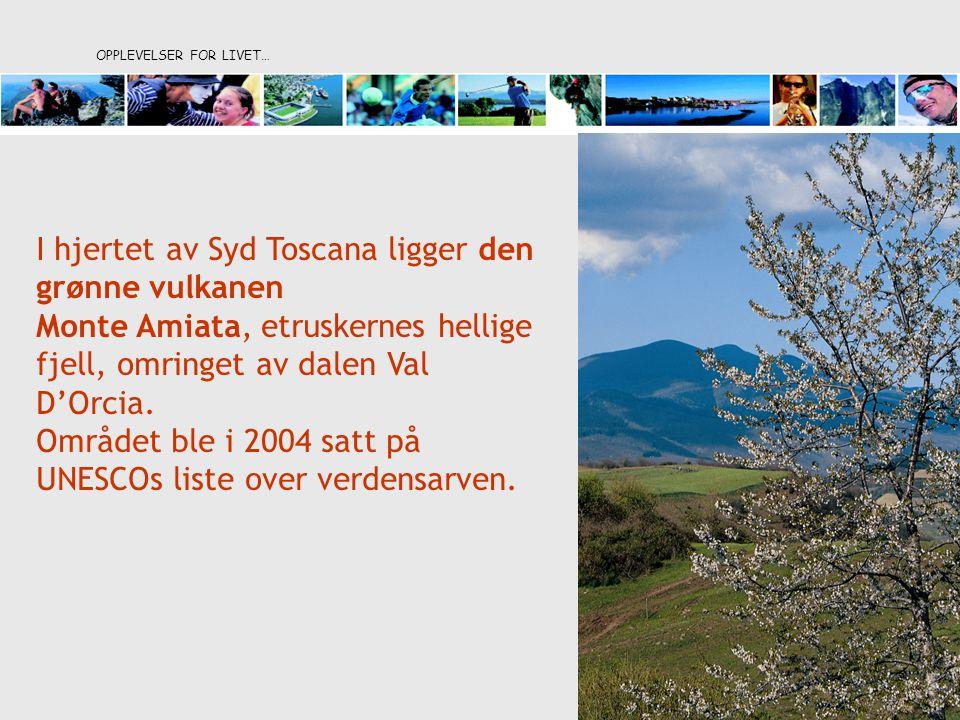 OPPLEVELSER FOR LIVET… I hjertet av Syd Toscana ligger den grønne vulkanen Monte Amiata, etruskernes hellige fjell, omringet av dalen Val D'Orcia. Omr