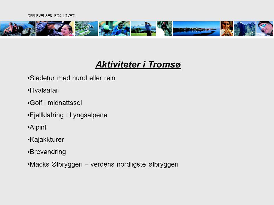 Aktiviteter i Tromsø Sledetur med hund eller rein Hvalsafari Golf i midnattssol Fjellklatring i Lyngsalpene Alpint Kajakkturer Brevandring Macks Ølbryggeri – verdens nordligste ølbryggeri