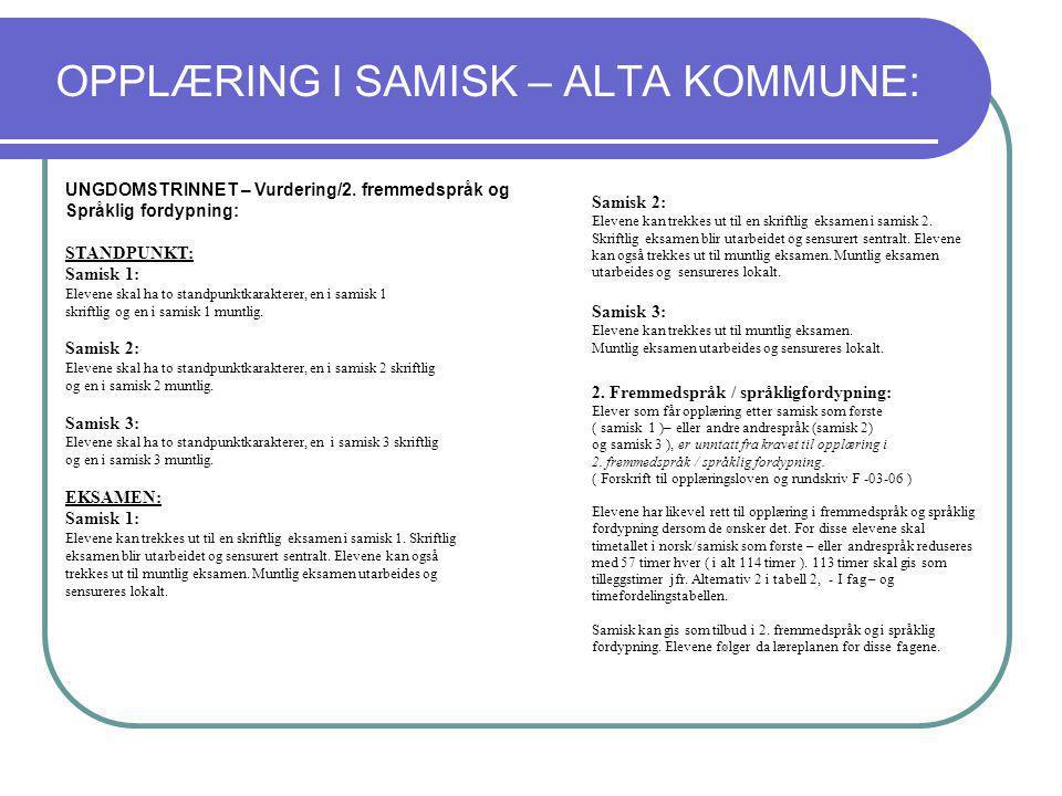 OPPLÆRING I SAMISK – ALTA KOMMUNE: UNGDOMSTRINNET – Vurdering/2. fremmedspråk og Språklig fordypning: STANDPUNKT: Samisk 1: Elevene skal ha to standpu