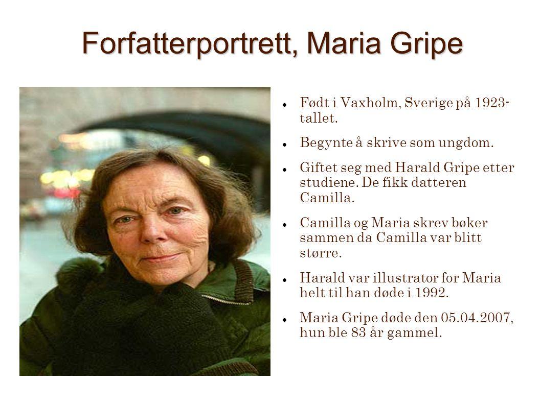 Forfatterportrett, Maria Gripe Født i Vaxholm, Sverige på 1923- tallet. Begynte å skrive som ungdom. Giftet seg med Harald Gripe etter studiene. De fi