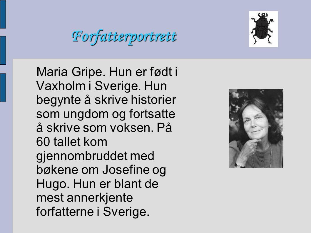 Forfatterportrett Maria Gripe. Hun er født i Vaxholm i Sverige. Hun begynte å skrive historier som ungdom og fortsatte å skrive som voksen. På 60 tall