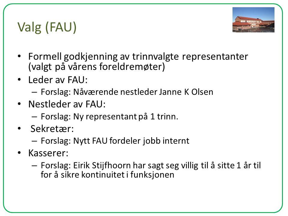 Valg (FAU) Formell godkjenning av trinnvalgte representanter (valgt på vårens foreldremøter) Leder av FAU: – Forslag: Nåværende nestleder Janne K Olse