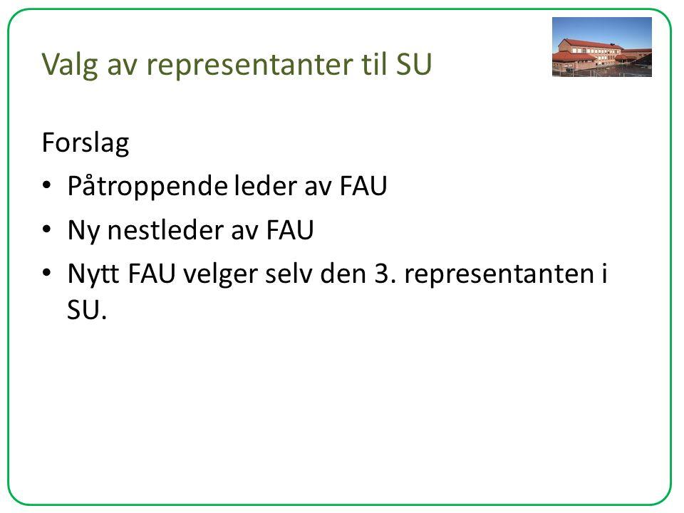 Valg av representanter til SU Forslag Påtroppende leder av FAU Ny nestleder av FAU Nytt FAU velger selv den 3. representanten i SU.