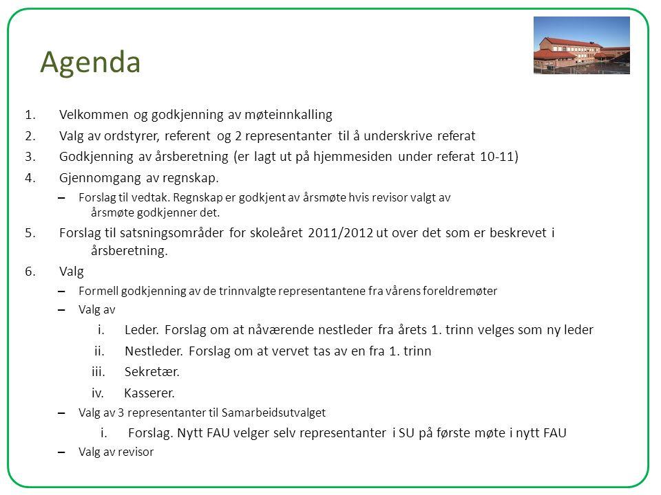 Agenda 1. Velkommen og godkjenning av møteinnkalling 2. Valg av ordstyrer, referent og 2 representanter til å underskrive referat 3. Godkjenning av år