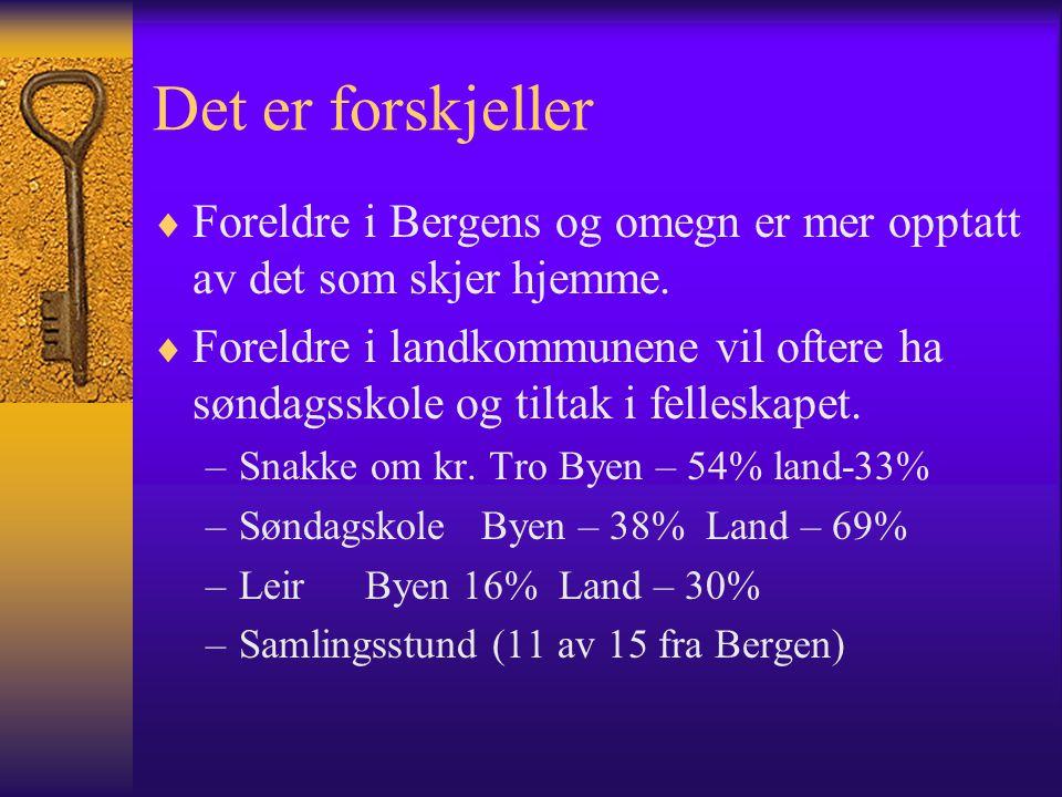 Det er forskjeller  Foreldre i Bergens og omegn er mer opptatt av det som skjer hjemme.