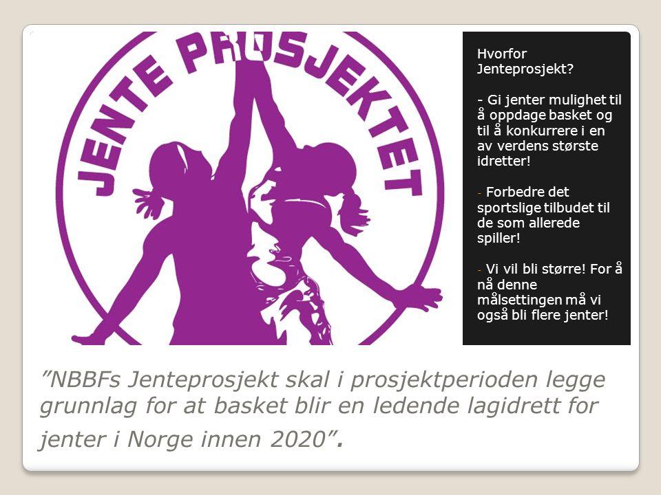 """""""NBBFs Jenteprosjekt skal i prosjektperioden legge grunnlag for at basket blir en ledende lagidrett for jenter i Norge innen 2020"""". Hvorfor Jenteprosj"""