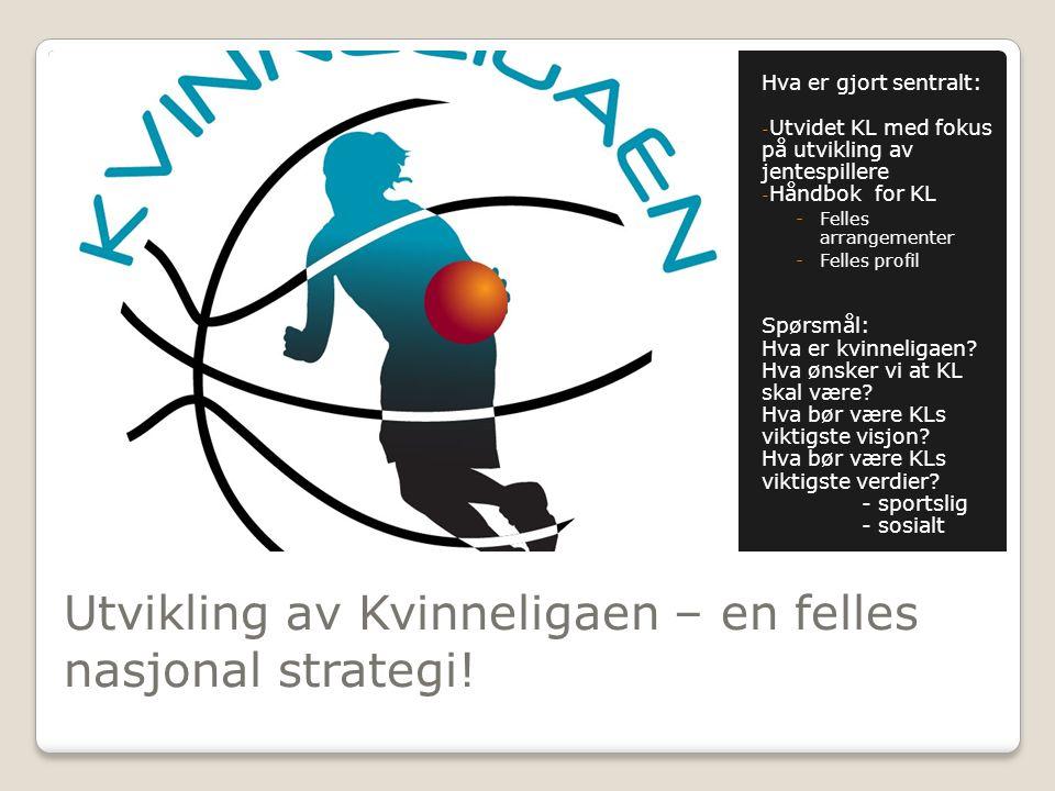 Utvikling av Kvinneligaen – en felles nasjonal strategi! Hva er gjort sentralt: - Utvidet KL med fokus på utvikling av jentespillere - Håndbok for KL