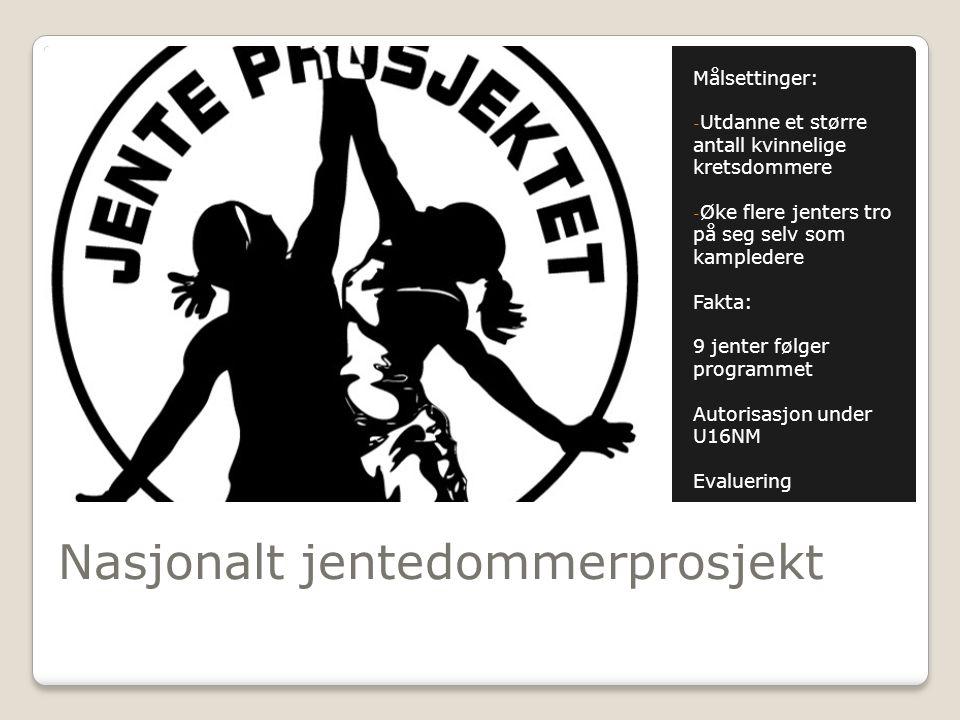 Nasjonalt jentedommerprosjekt Målsettinger: - Utdanne et større antall kvinnelige kretsdommere - Øke flere jenters tro på seg selv som kampledere Fakt
