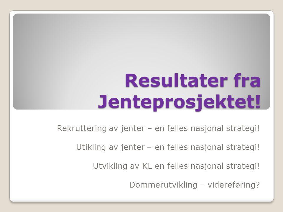 Resultater fra Jenteprosjektet! Rekruttering av jenter – en felles nasjonal strategi! Utikling av jenter – en felles nasjonal strategi! Utvikling av K