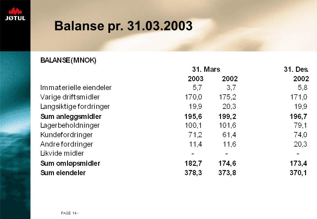PAGE 14 - Balanse pr. 31.03.2003