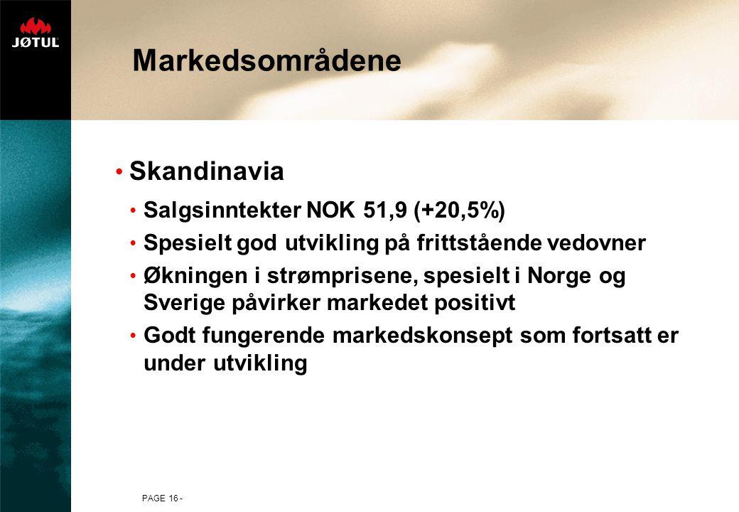 PAGE 16 - Markedsområdene Skandinavia Salgsinntekter NOK 51,9 (+20,5%) Spesielt god utvikling på frittstående vedovner Økningen i strømprisene, spesie
