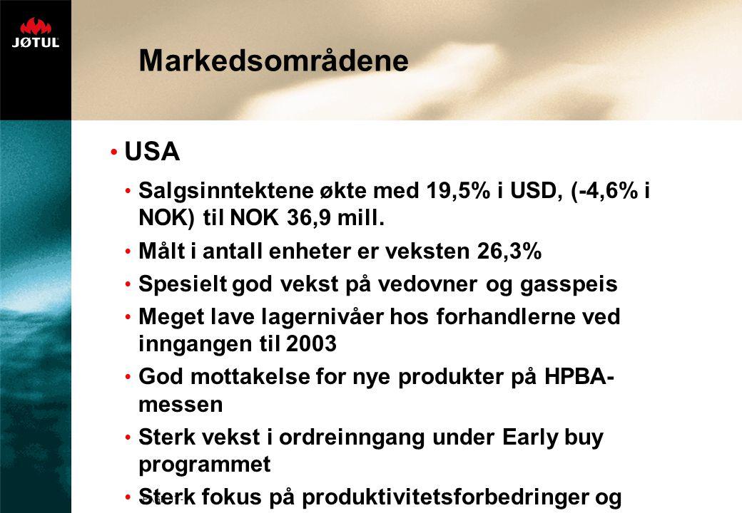 PAGE 17 - Markedsområdene USA Salgsinntektene økte med 19,5% i USD, (-4,6% i NOK) til NOK 36,9 mill.