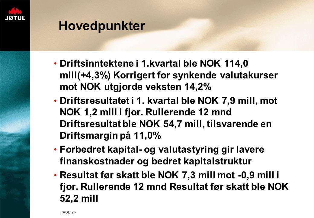 PAGE 2 - Hovedpunkter Driftsinntektene i 1.kvartal ble NOK 114,0 mill(+4,3%) Korrigert for synkende valutakurser mot NOK utgjorde veksten 14,2% Drifts