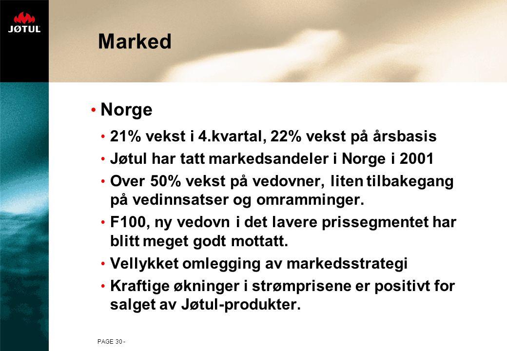 PAGE 30 - Marked Norge 21% vekst i 4.kvartal, 22% vekst på årsbasis Jøtul har tatt markedsandeler i Norge i 2001 Over 50% vekst på vedovner, liten tilbakegang på vedinnsatser og omramminger.