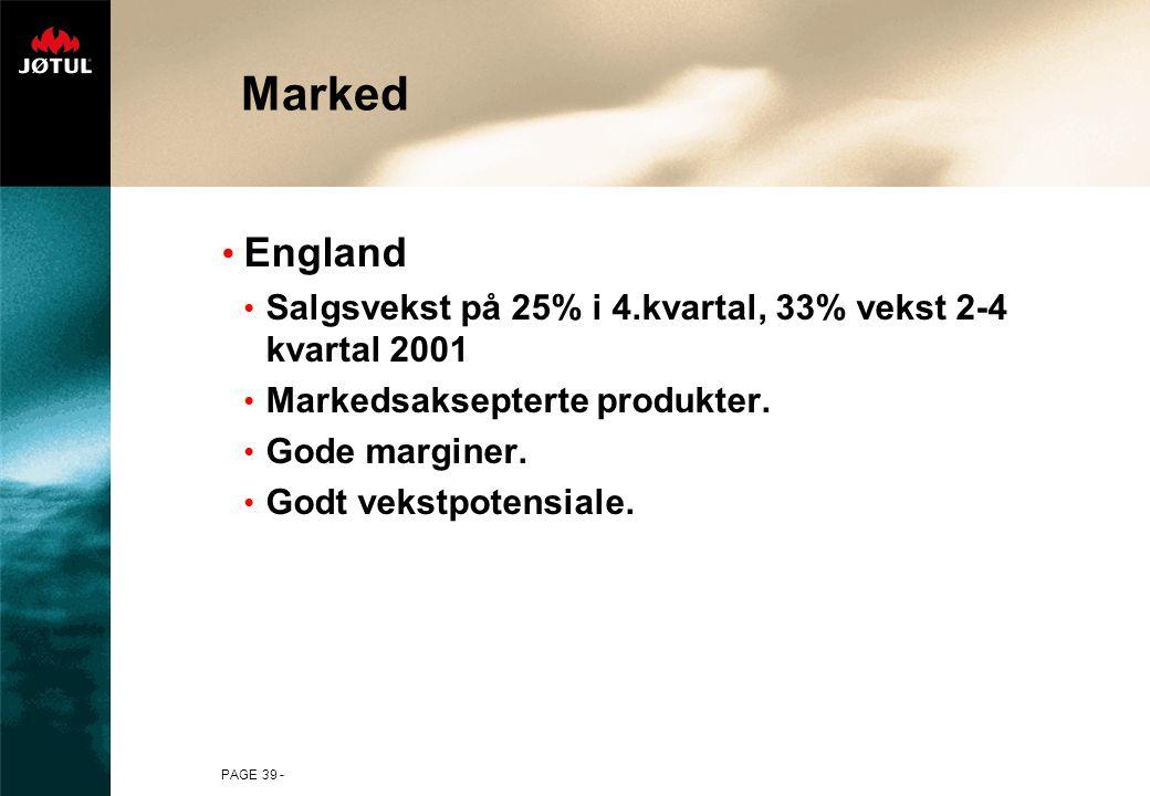 PAGE 39 - Marked England Salgsvekst på 25% i 4.kvartal, 33% vekst 2-4 kvartal 2001 Markedsaksepterte produkter.