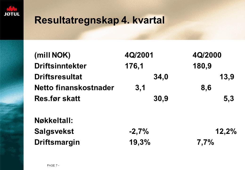 PAGE 28 - Jøtuls salgsfordeling pr. produktgruppe 1999-2001(%-fordeling)