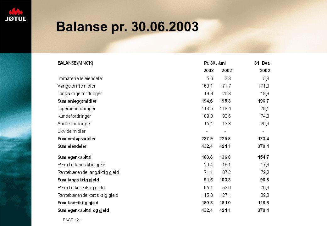 PAGE 12 - Balanse pr. 30.06.2003