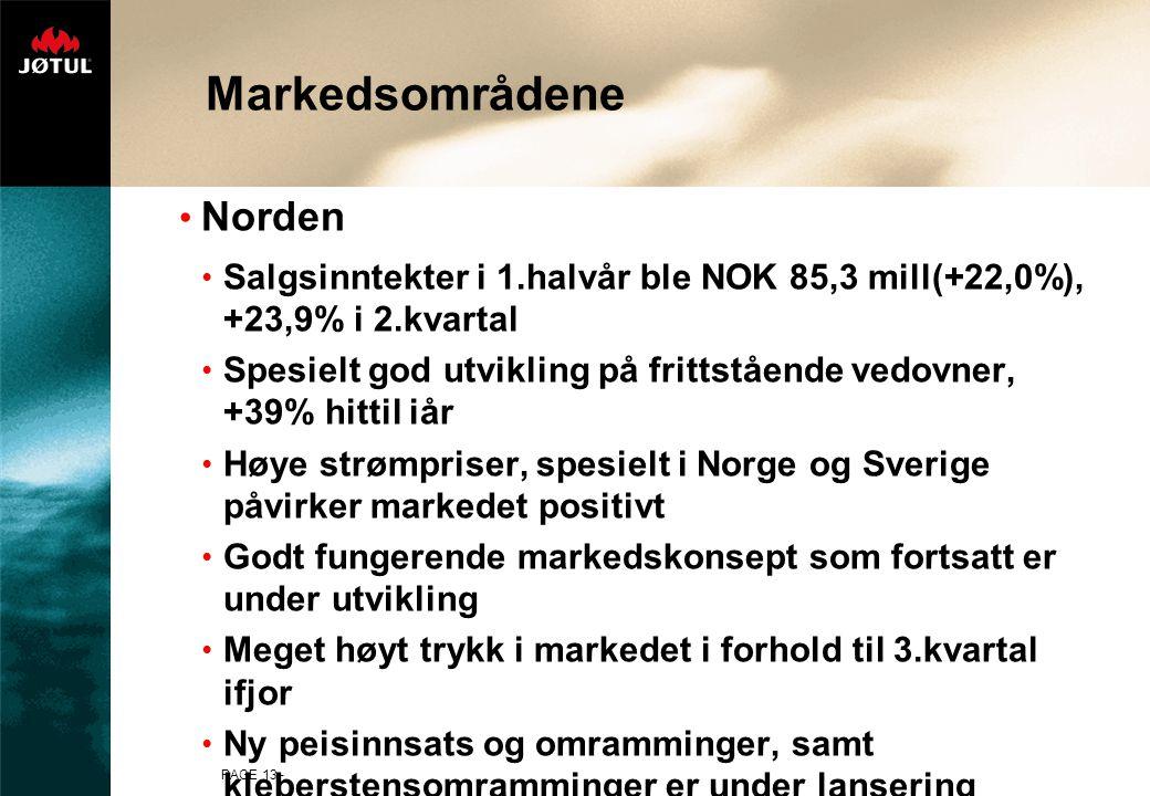 PAGE 13 - Markedsområdene Norden Salgsinntekter i 1.halvår ble NOK 85,3 mill(+22,0%), +23,9% i 2.kvartal Spesielt god utvikling på frittstående vedovner, +39% hittil iår Høye strømpriser, spesielt i Norge og Sverige påvirker markedet positivt Godt fungerende markedskonsept som fortsatt er under utvikling Meget høyt trykk i markedet i forhold til 3.kvartal ifjor Ny peisinnsats og omramminger, samt kleberstensomramminger er under lansering