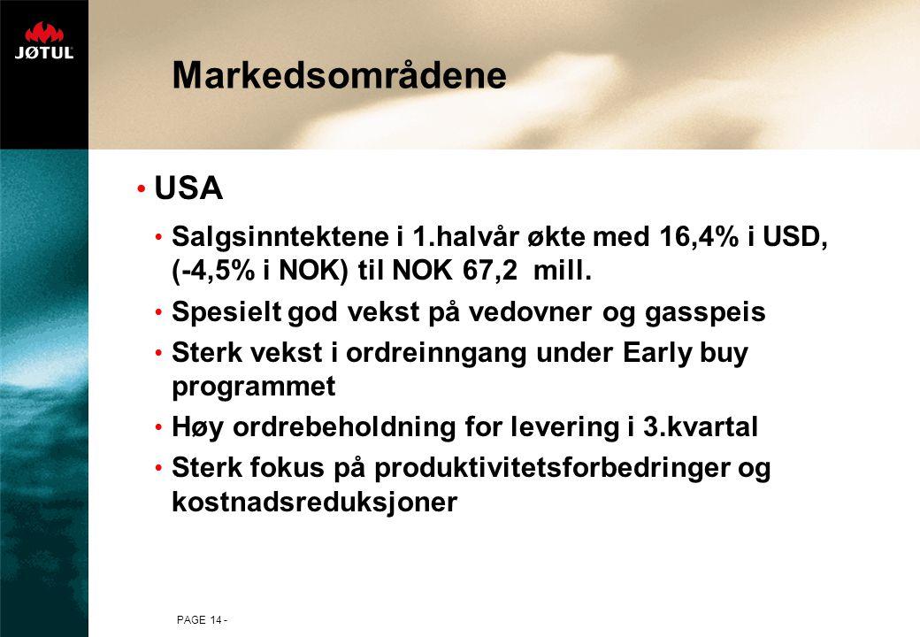 PAGE 14 - Markedsområdene USA Salgsinntektene i 1.halvår økte med 16,4% i USD, (-4,5% i NOK) til NOK 67,2 mill.