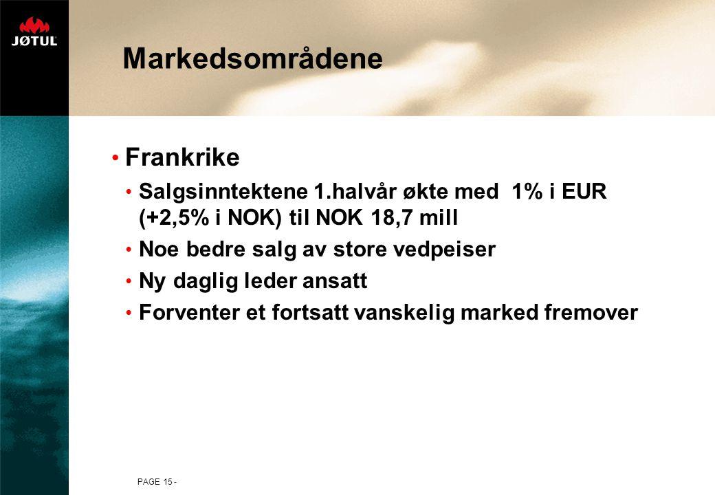 PAGE 15 - Markedsområdene Frankrike Salgsinntektene 1.halvår økte med 1% i EUR (+2,5% i NOK) til NOK 18,7 mill Noe bedre salg av store vedpeiser Ny daglig leder ansatt Forventer et fortsatt vanskelig marked fremover