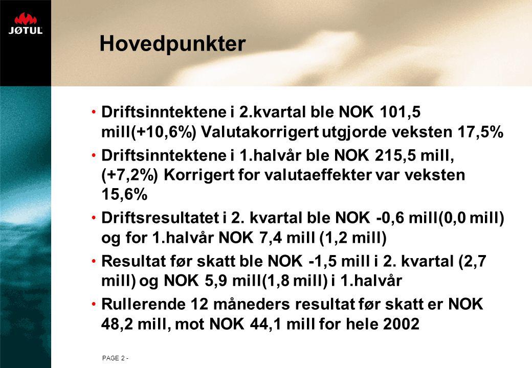 PAGE 2 - Hovedpunkter Driftsinntektene i 2.kvartal ble NOK 101,5 mill(+10,6%) Valutakorrigert utgjorde veksten 17,5% Driftsinntektene i 1.halvår ble NOK 215,5 mill, (+7,2%) Korrigert for valutaeffekter var veksten 15,6% Driftsresultatet i 2.