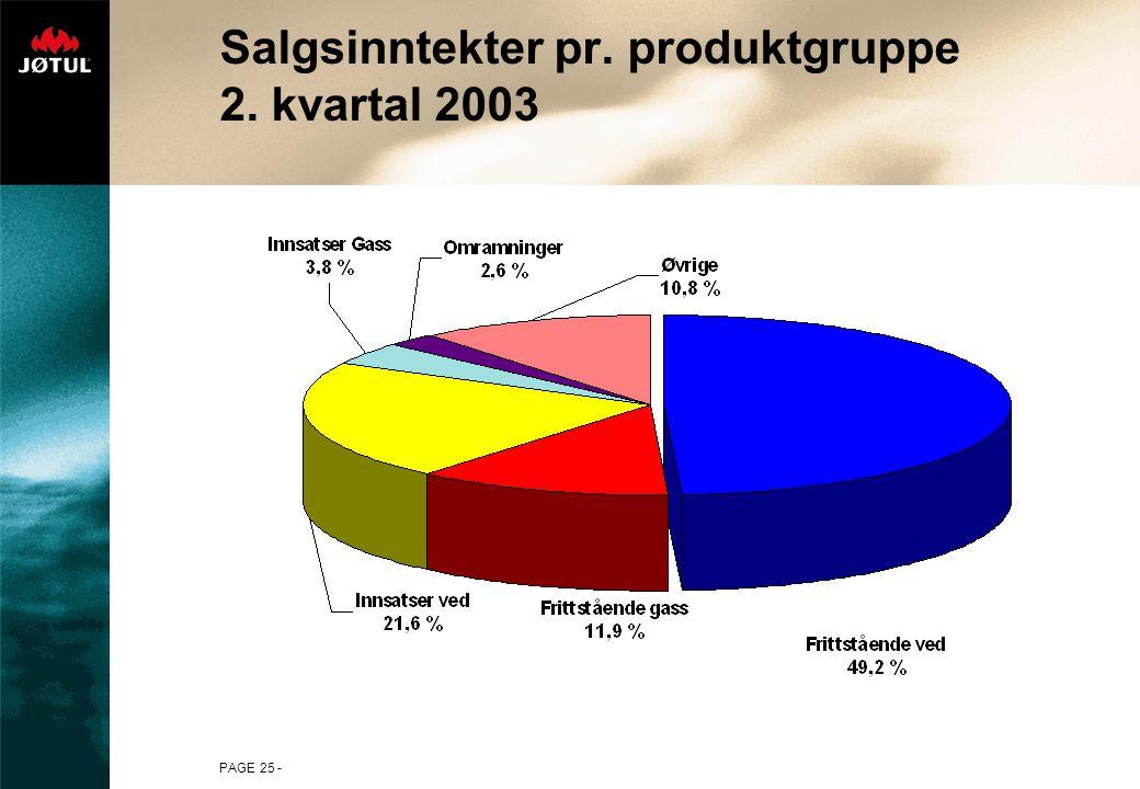 PAGE 25 - Salgsinntekter pr. produktgruppe 2. kvartal 2003