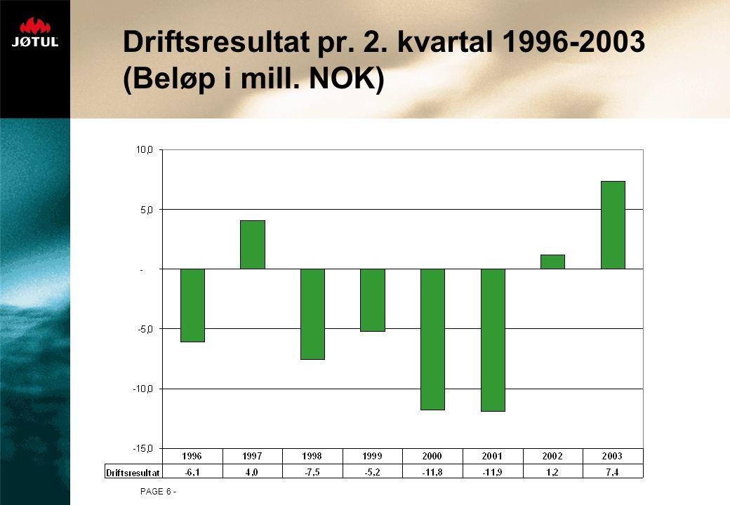 PAGE 6 - Driftsresultat pr. 2. kvartal 1996-2003 (Beløp i mill. NOK)