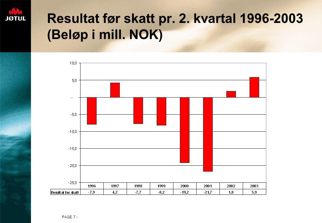 PAGE 7 - Resultat før skatt pr. 2. kvartal 1996-2003 (Beløp i mill. NOK)
