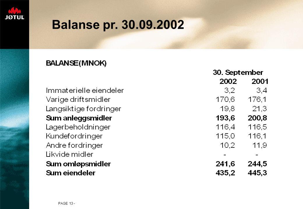 PAGE 13 - Balanse pr. 30.09.2002