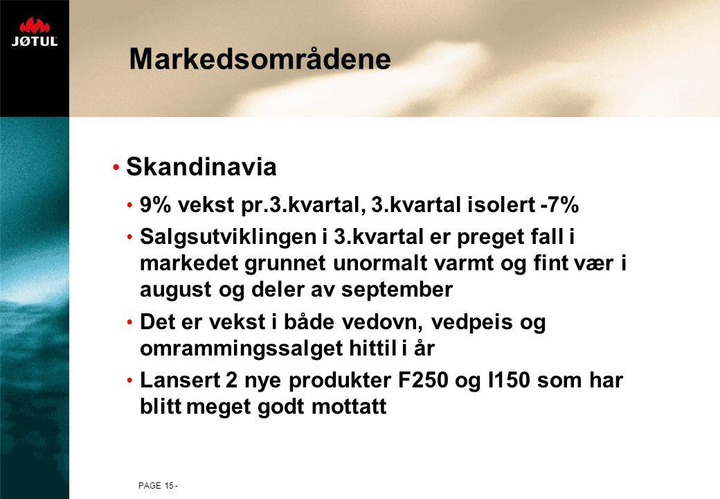 PAGE 15 - Markedsområdene Skandinavia 9% vekst pr.3.kvartal, 3.kvartal isolert -7% Salgsutviklingen i 3.kvartal er preget fall i markedet grunnet unor