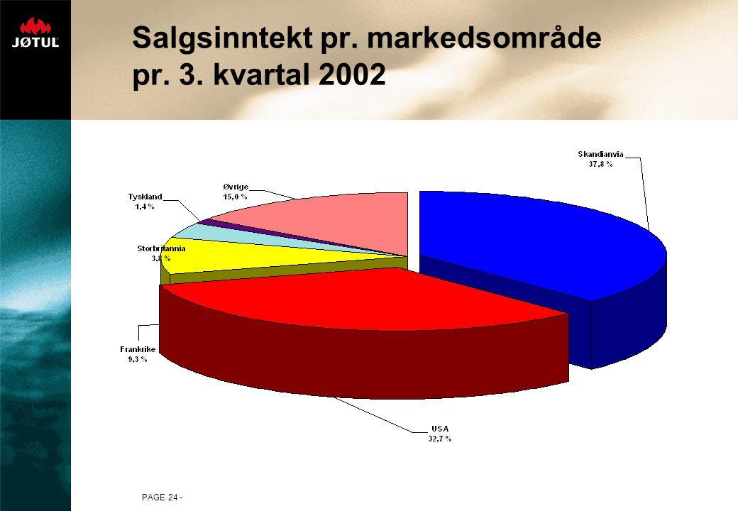 PAGE 24 - Salgsinntekt pr. markedsområde pr. 3. kvartal 2002