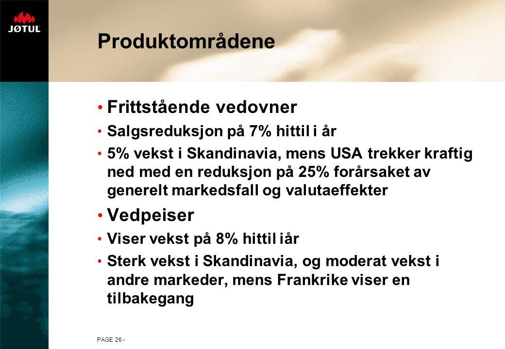 PAGE 26 - Produktområdene Frittstående vedovner Salgsreduksjon på 7% hittil i år 5% vekst i Skandinavia, mens USA trekker kraftig ned med en reduksjon