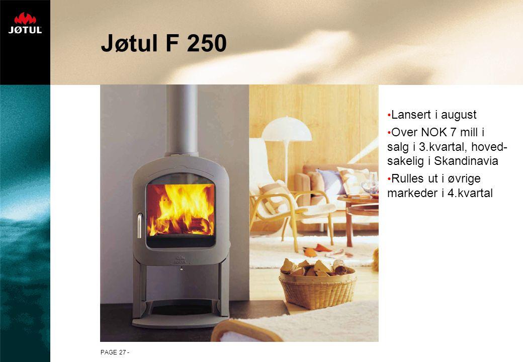 PAGE 27 - Jøtul F 250 Lansert i august Over NOK 7 mill i salg i 3.kvartal, hoved- sakelig i Skandinavia Rulles ut i øvrige markeder i 4.kvartal