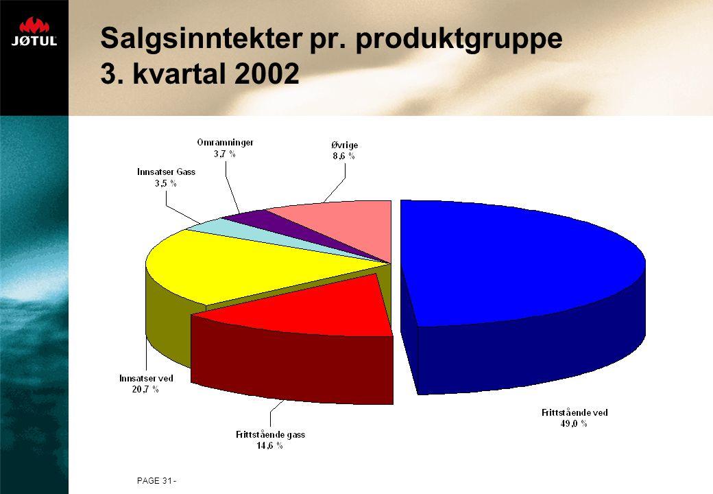 PAGE 31 - Salgsinntekter pr. produktgruppe 3. kvartal 2002