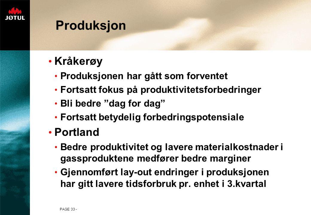 """PAGE 33 - Produksjon Kråkerøy Produksjonen har gått som forventet Fortsatt fokus på produktivitetsforbedringer Bli bedre """"dag for dag"""" Fortsatt betyde"""