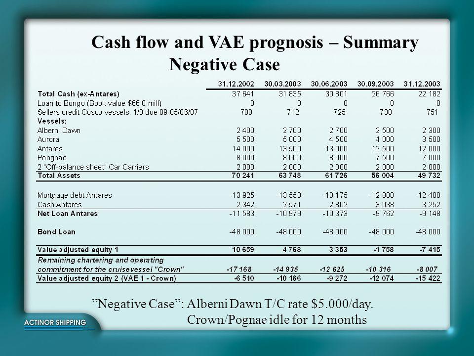 Cash flow and VAE prognosis – Summary Positive Case Positive Case : Alberni Dawn T/C: $7.000/day.