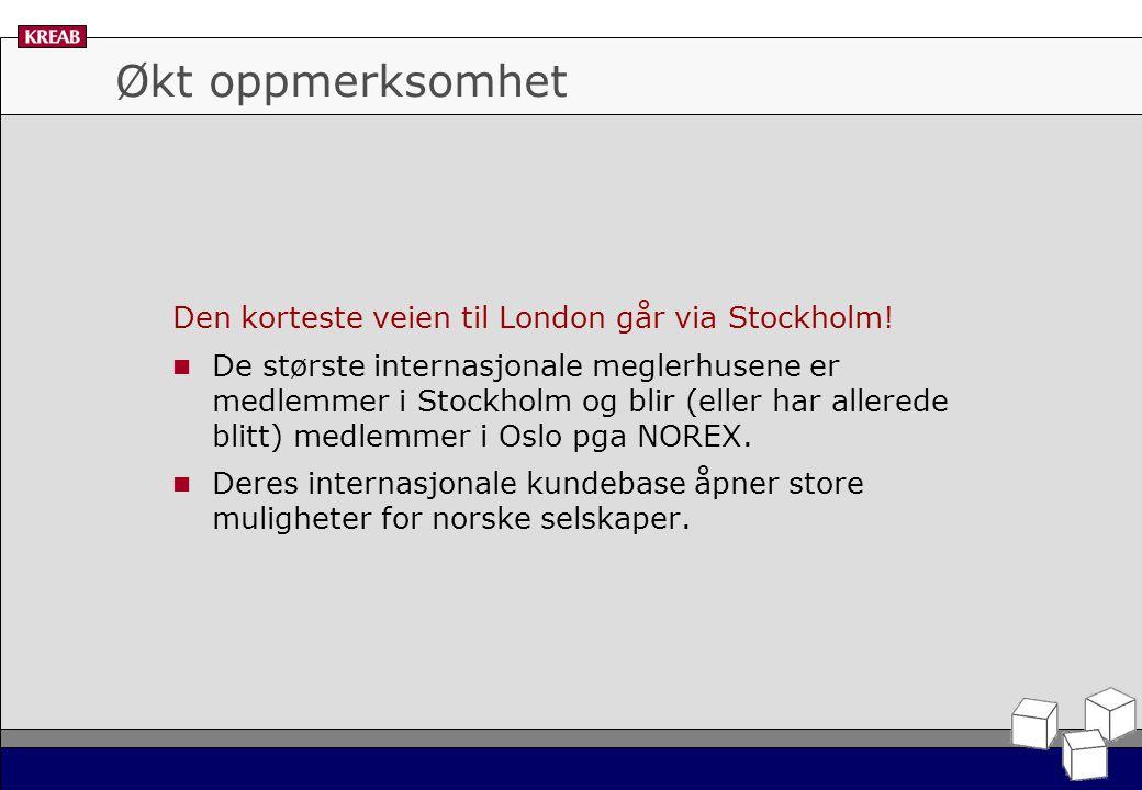 Økt oppmerksomhet Den korteste veien til London går via Stockholm.
