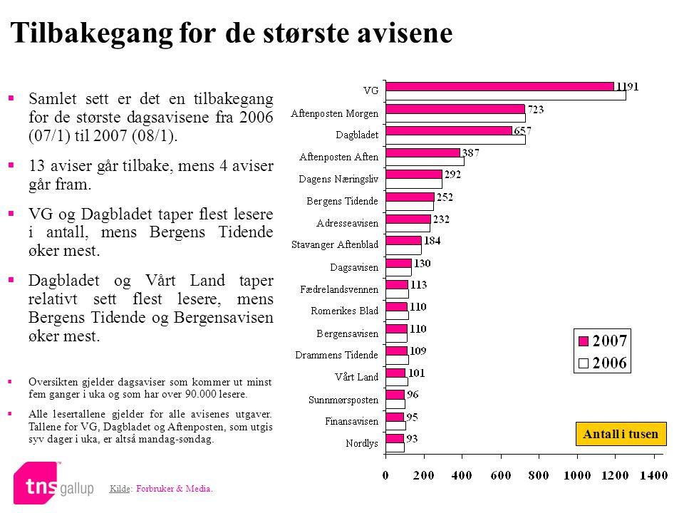 Tilbakegang for de største avisene Kilde: Forbruker & Media.  Samlet sett er det en tilbakegang for de største dagsavisene fra 2006 (07/1) til 2007 (