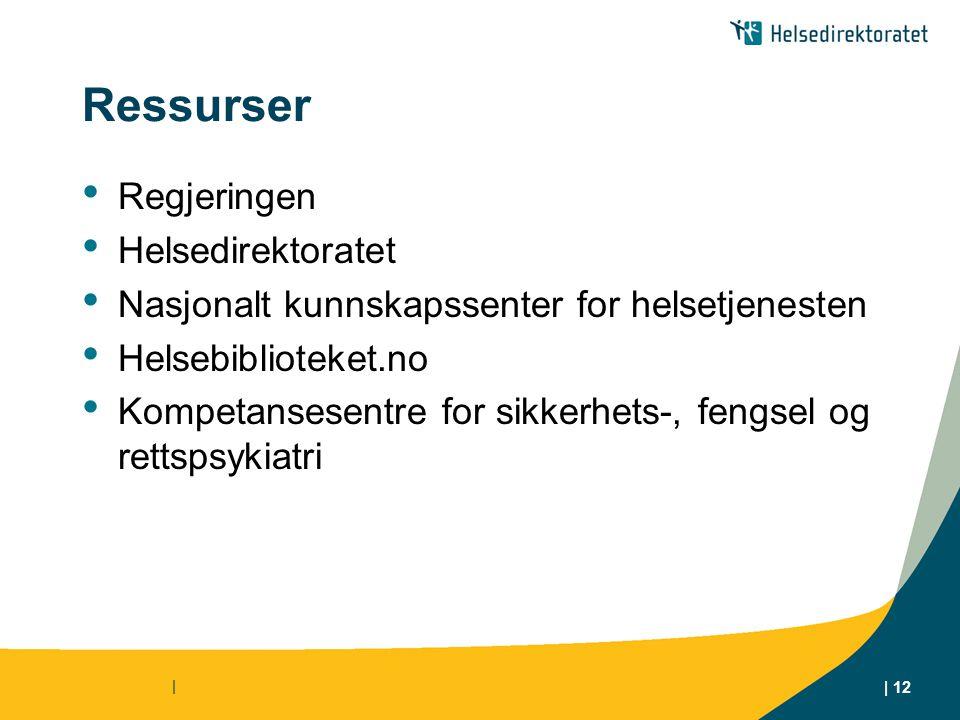 | | 12 Ressurser Regjeringen Helsedirektoratet Nasjonalt kunnskapssenter for helsetjenesten Helsebiblioteket.no Kompetansesentre for sikkerhets-, fengsel og rettspsykiatri