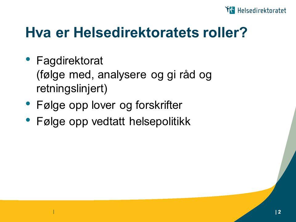 | | 2 Hva er Helsedirektoratets roller.