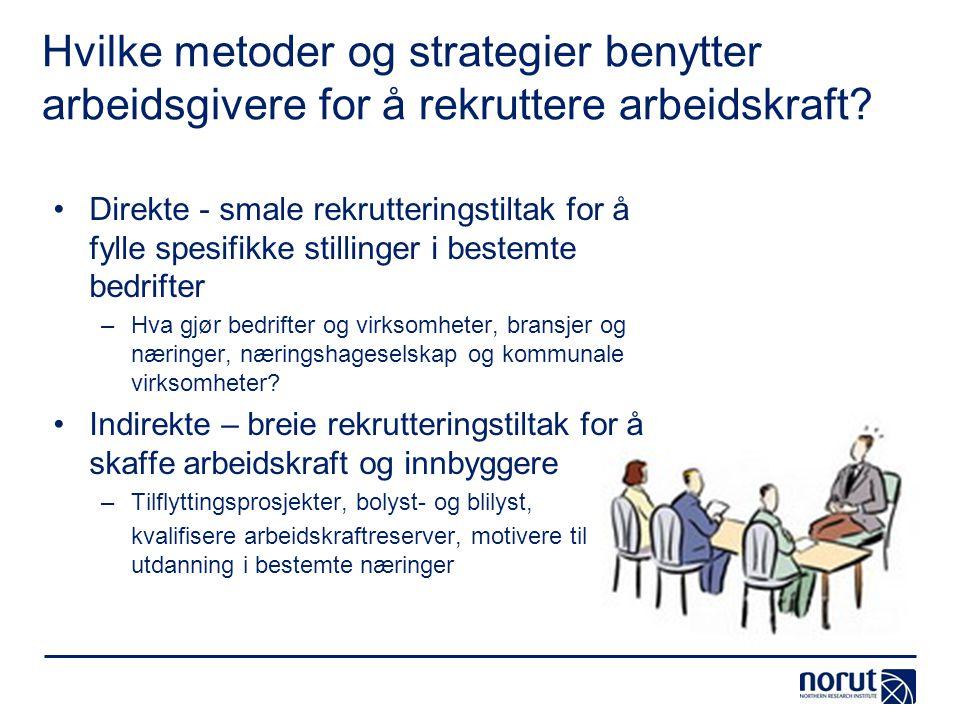 Hvilke metoder og strategier benytter arbeidsgivere for å rekruttere arbeidskraft? Direkte - smale rekrutteringstiltak for å fylle spesifikke stilling